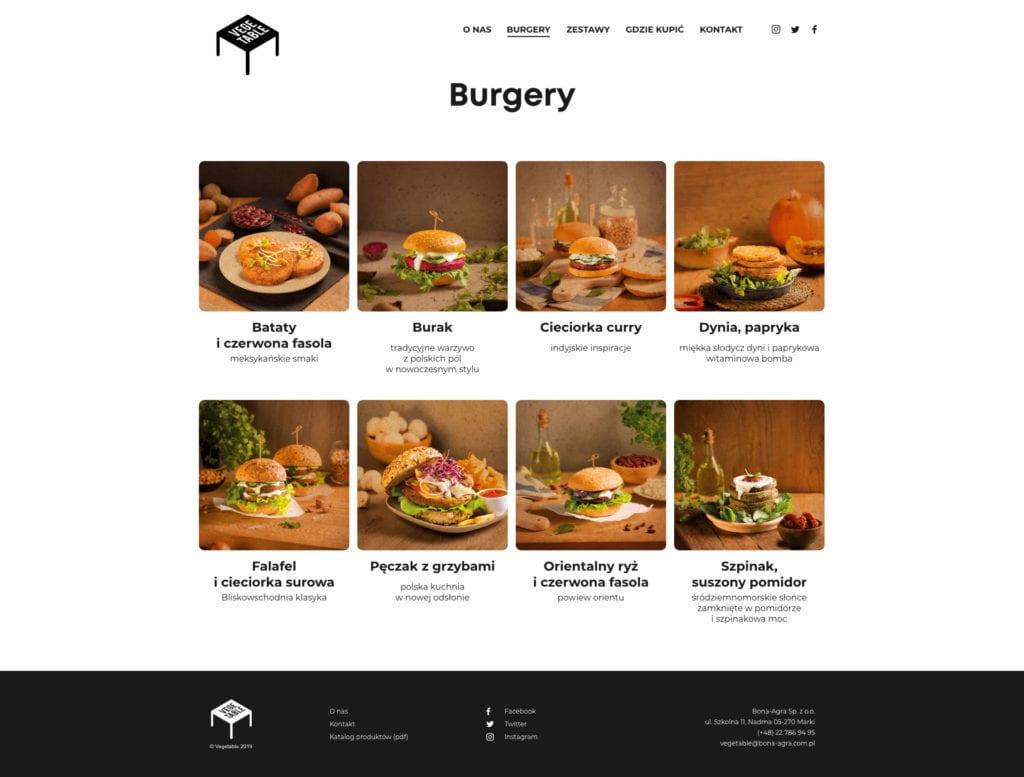 Projekt strony internetowej dla vegeburger